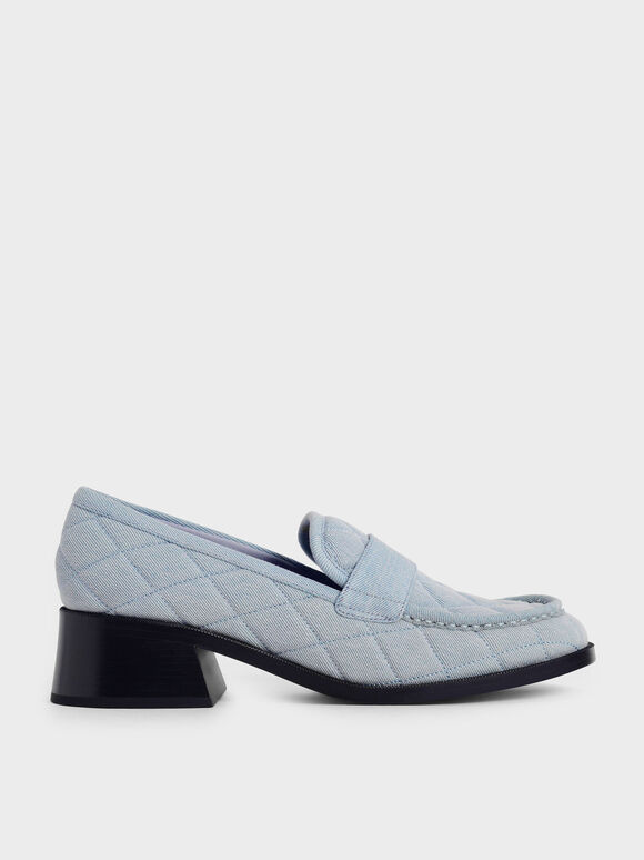 Sepatu Block Heel Penny Loafers, Light Blue, hi-res