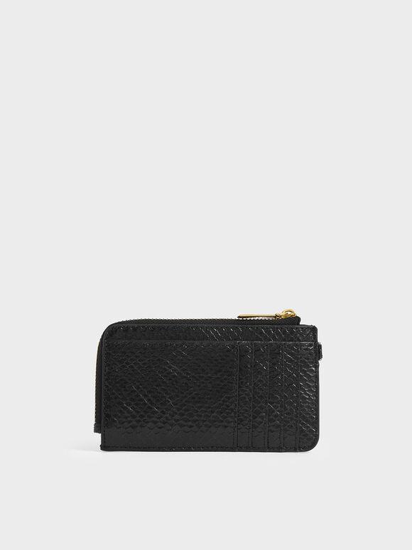Snake Print Multi-Slot Wristlet Card Holder, Black Textured, hi-res