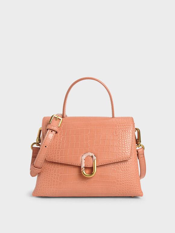 Croc-Effect Stone-Embellished Handbag, Peach, hi-res