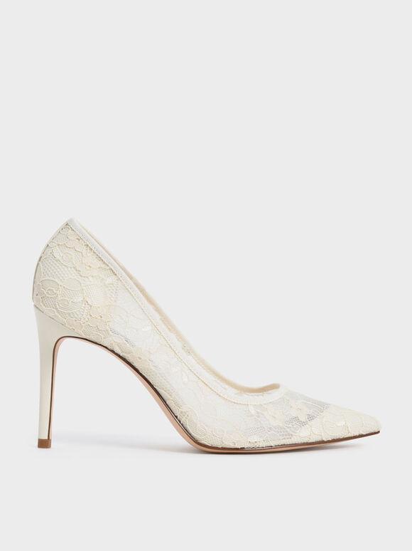 Sepatu Lace Stiletto Pumps, Cream, hi-res