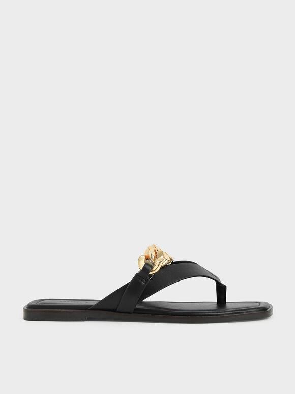 Sandal Chain Strap Thong, Black, hi-res