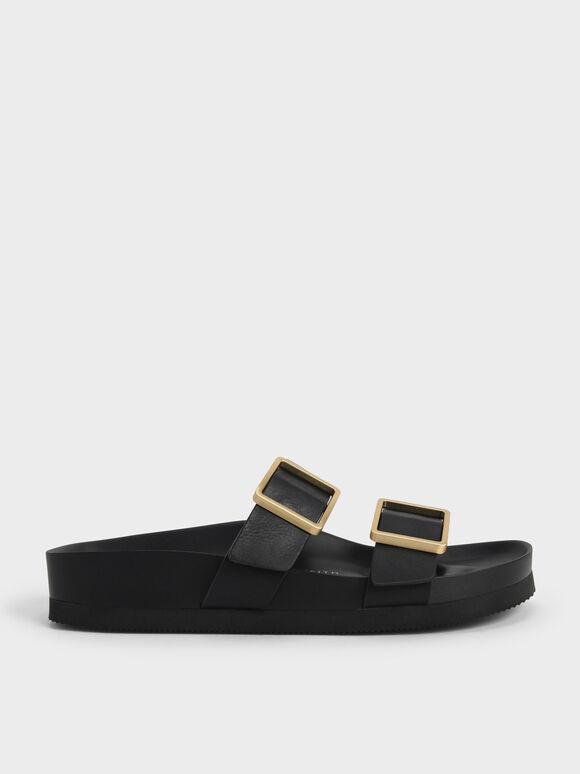 Sandal Slide Buckle Strap, Black, hi-res