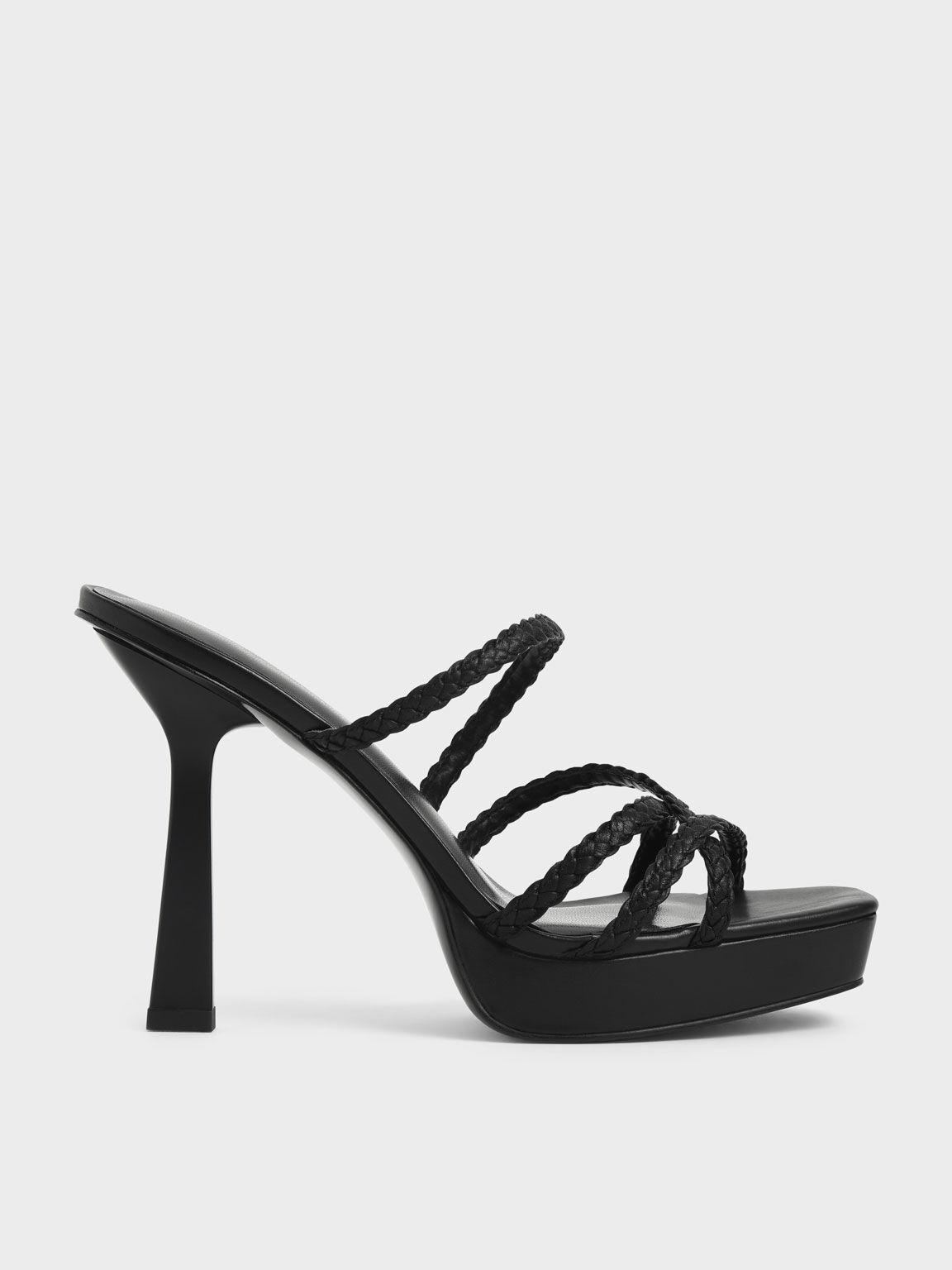 Sepatu Braided Strap Platform Mules, Black, hi-res