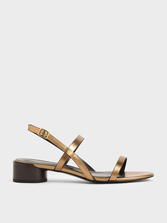 Sandal Metallic Strappy Heeled, Bronze, hi-res