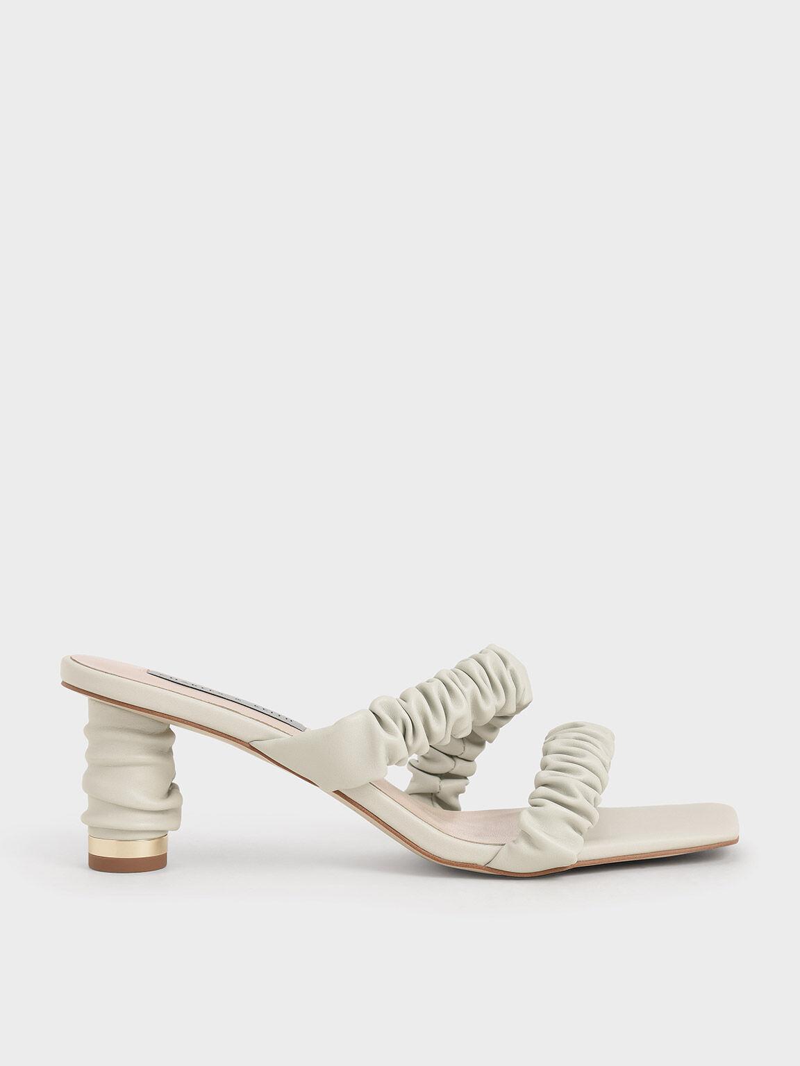Sandal Ruched Strap Mules, White, hi-res