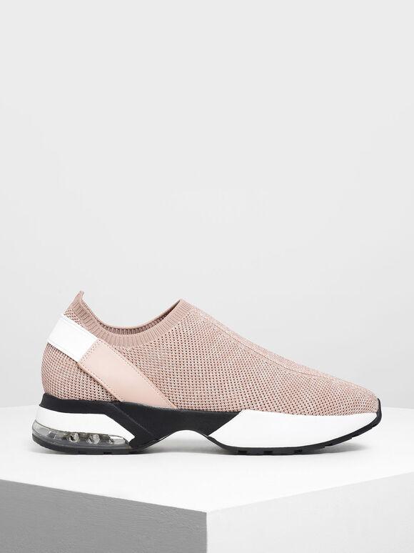 Sepatu Slip-On Kaus Kaki Rajutan, Pink, hi-res