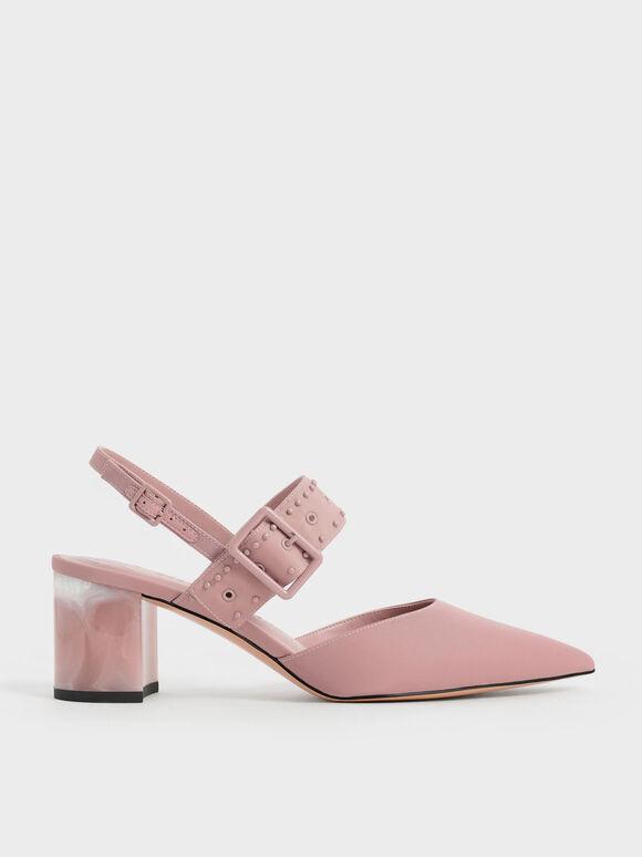 The Anniversary Series: Sepatu Slingback Pumps Sepphe Recycled Nylon Grommet, Pink, hi-res