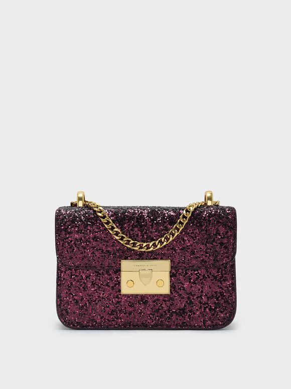 Glitter Metallic Push-Lock Handbag, Prune, hi-res