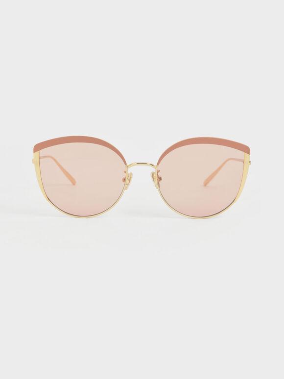 Kacamata Cat-Eye Thin Metal Frame, Pink, hi-res