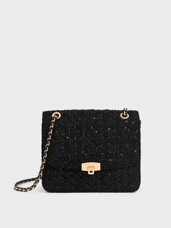 Tweed Chain Strap Bag, Black, hi-res