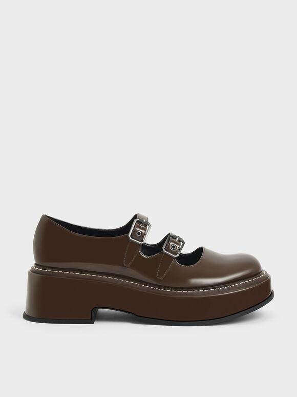 Sepatu Frankie Patent Platform Mary Janes?, Dark Brown, hi-res