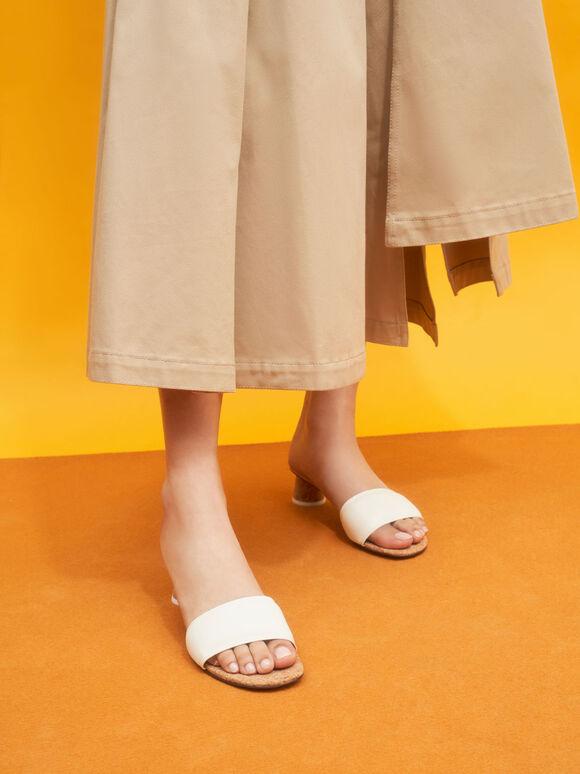 Sandal Puffy Cylindrical Heel Mules, White, hi-res