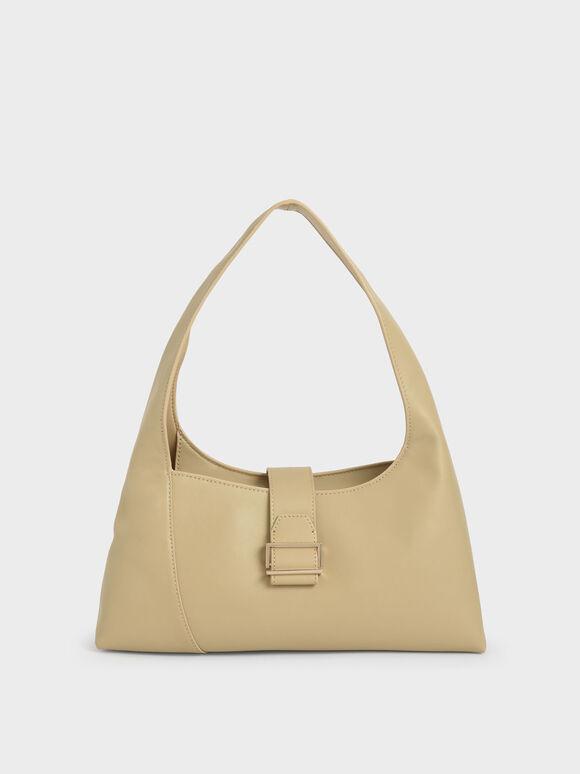 Leather Hobo Bag, Yellow, hi-res