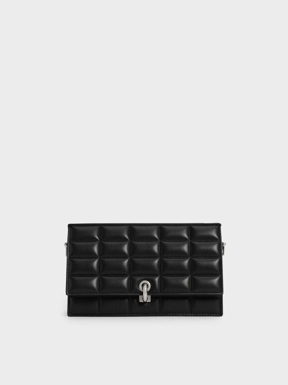 Dompet Panjang Padded Turn-Lock, Black, hi-res