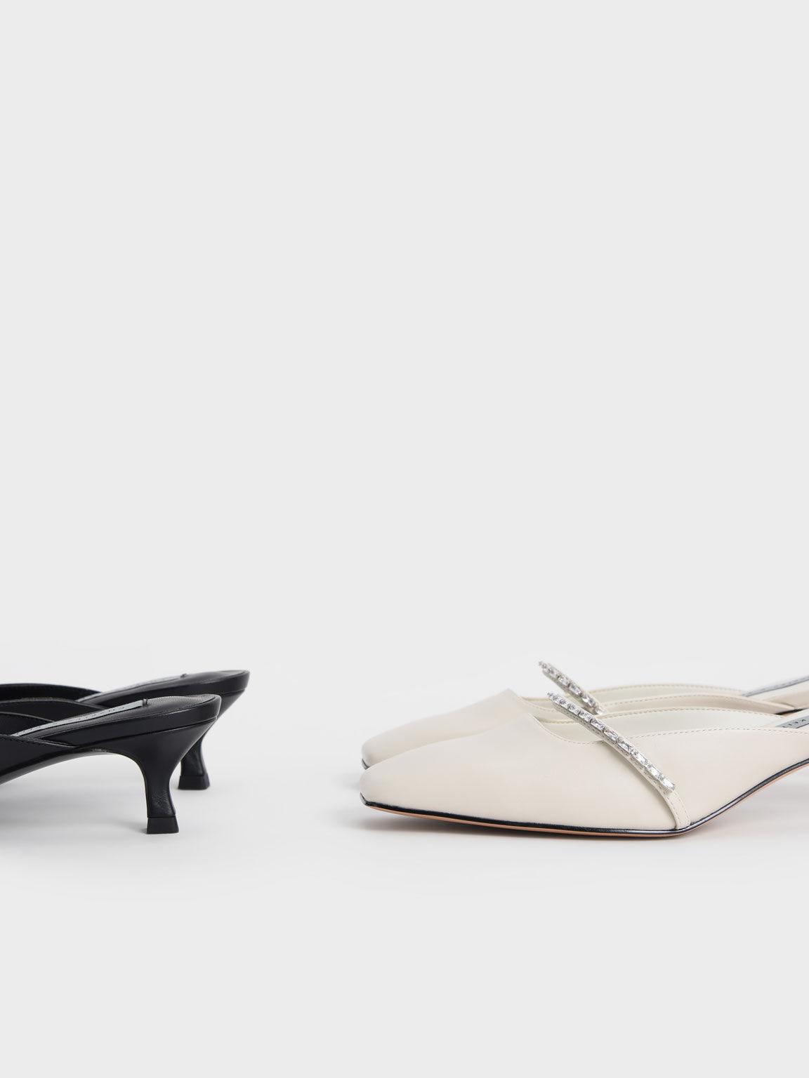 Sandal Gem-Embellished Square Toe Mules, Black, hi-res
