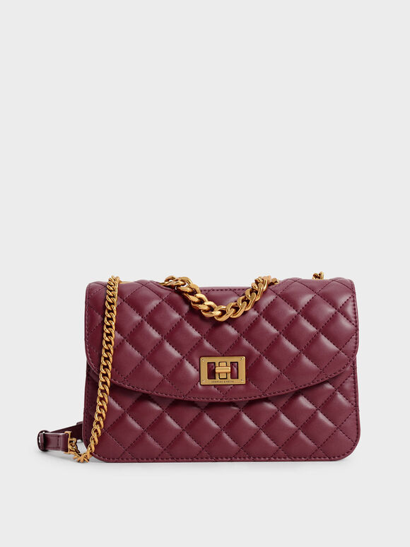 Quilted Clutch, Burgundy, hi-res