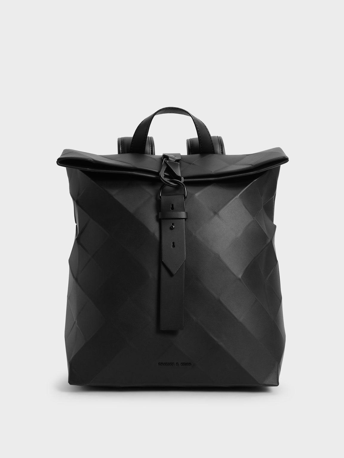 Tas Backpack Large Geometric, Black, hi-res