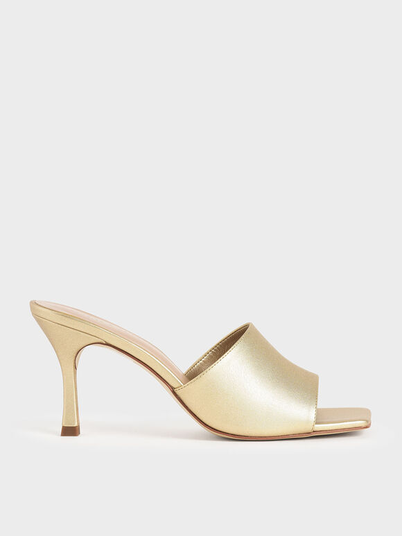 Sandal Mules Metallic Square Toe, Gold, hi-res