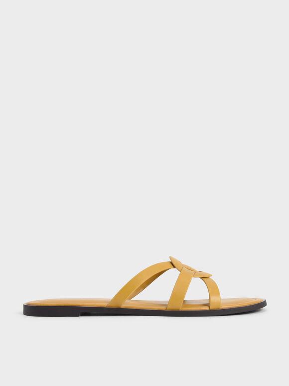 Sepatu Flats Ring Detail Strappy, Mustard, hi-res