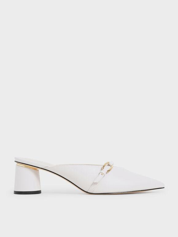 Sepatu Metallic Accent Pointed Mules, White, hi-res