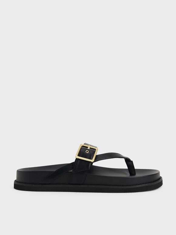 Sandal Buckled Thong, Black, hi-res