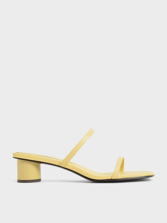 Sandal Double Strap Cylindrical Heel Mules, Yellow, hi-res