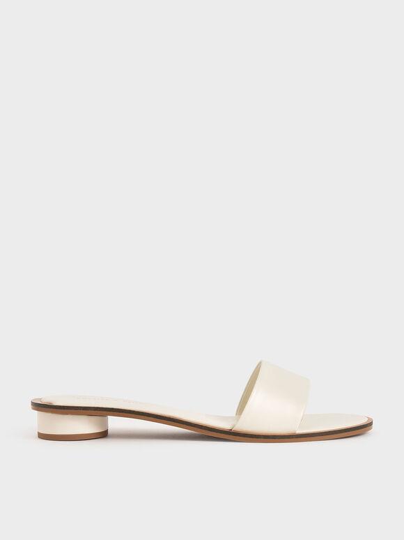 Two-Tone Slide Sandals, Cream, hi-res