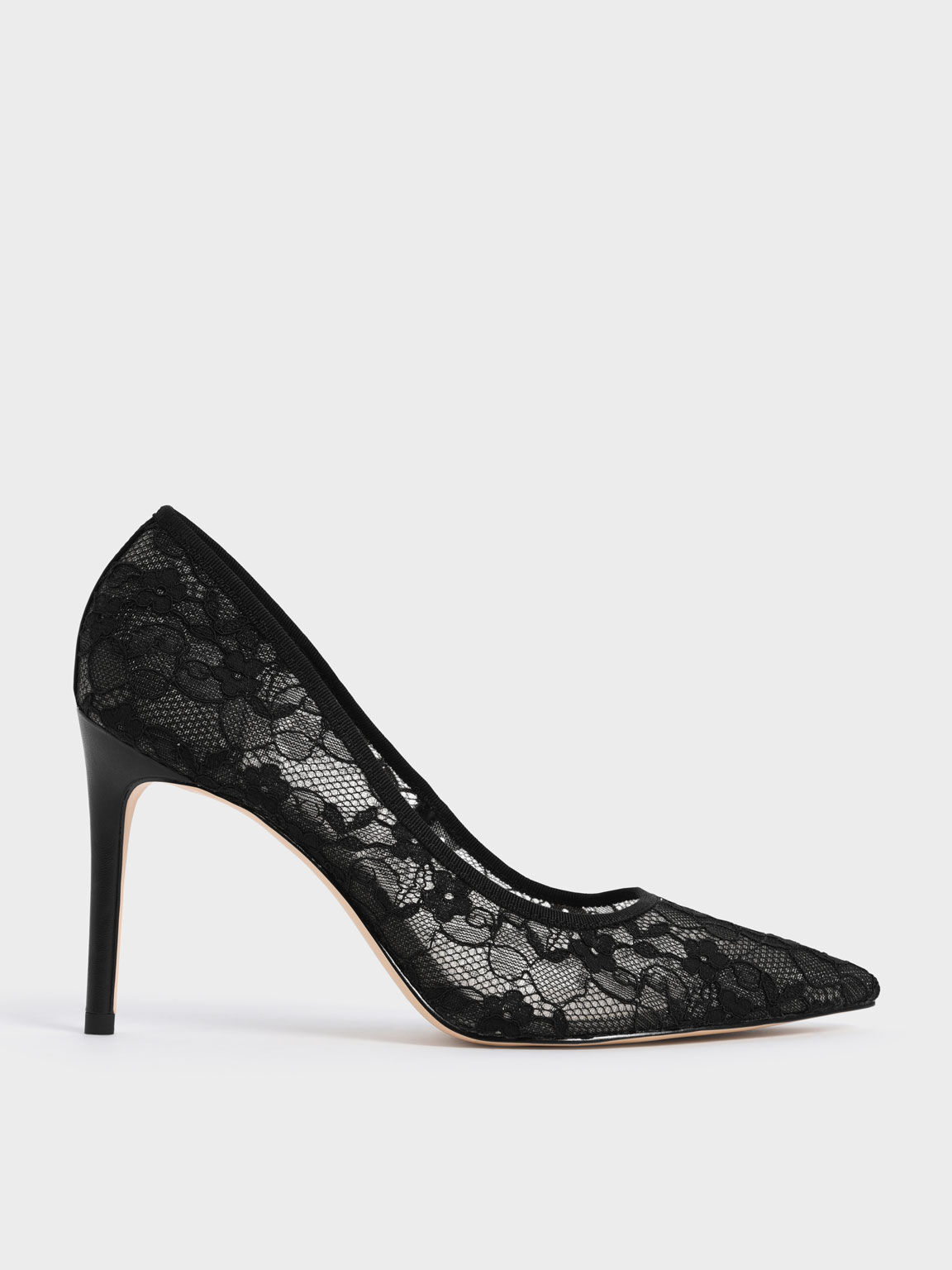 Sepatu Lace Stiletto Pumps, Black, hi-res