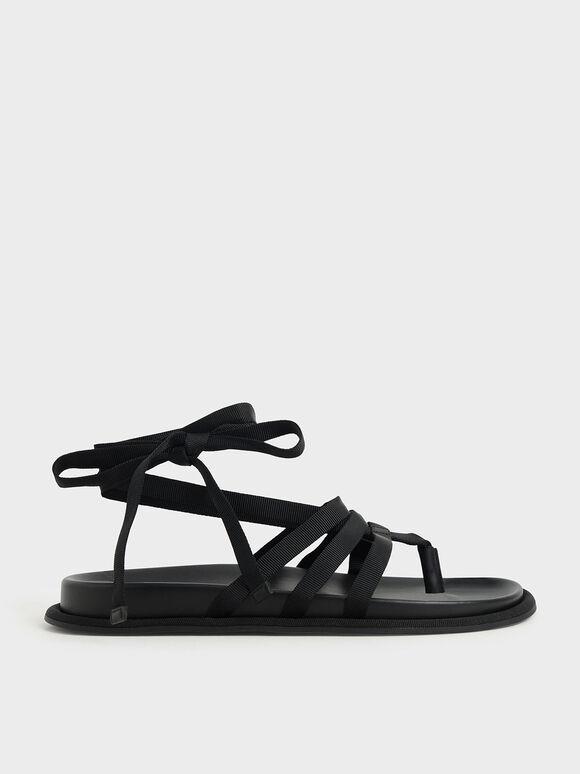 Sandal Thong Tie-Around Grosgrain, Black, hi-res