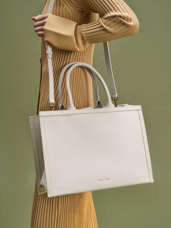 Tas Tote Bag Large Double Handle, Cream, hi-res
