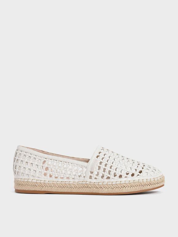 Sepatu Woven Espadrilles, Chalk, hi-res