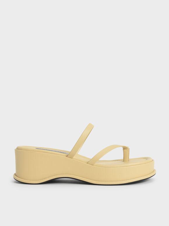 Sandal Toe Loop Flatform, Yellow, hi-res