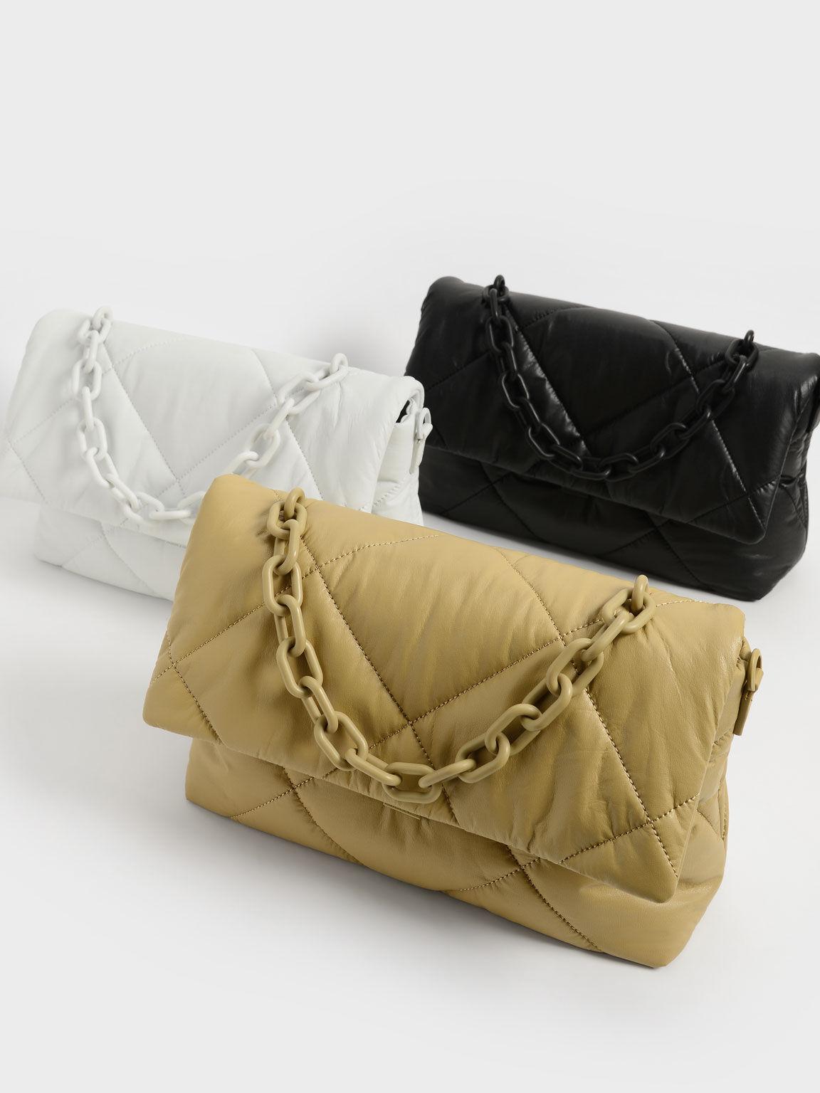 Puffer Chain Shoulder Bag, Sand, hi-res