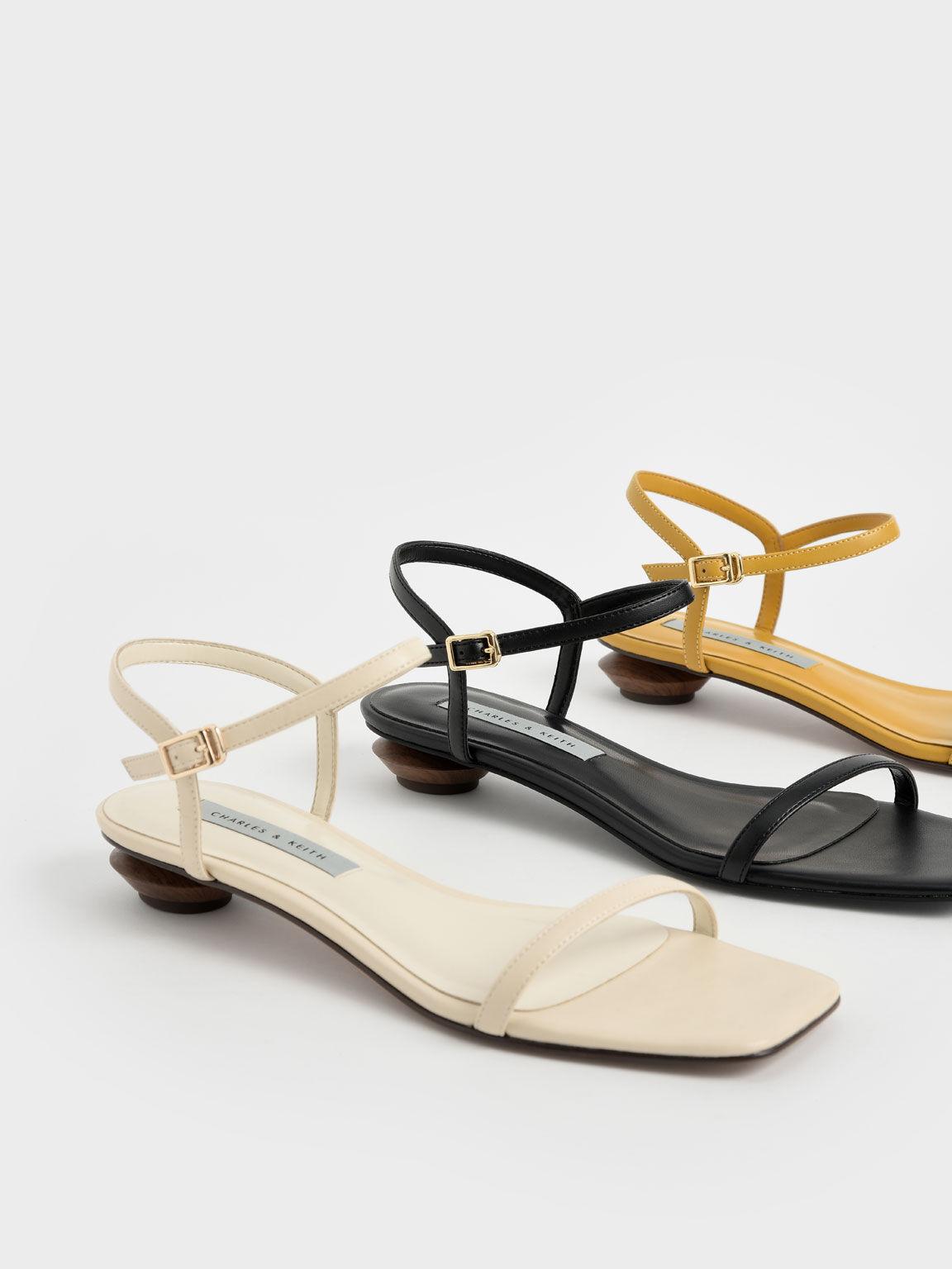 Sandal Sculptural Heel Ankle Strap, Black, hi-res