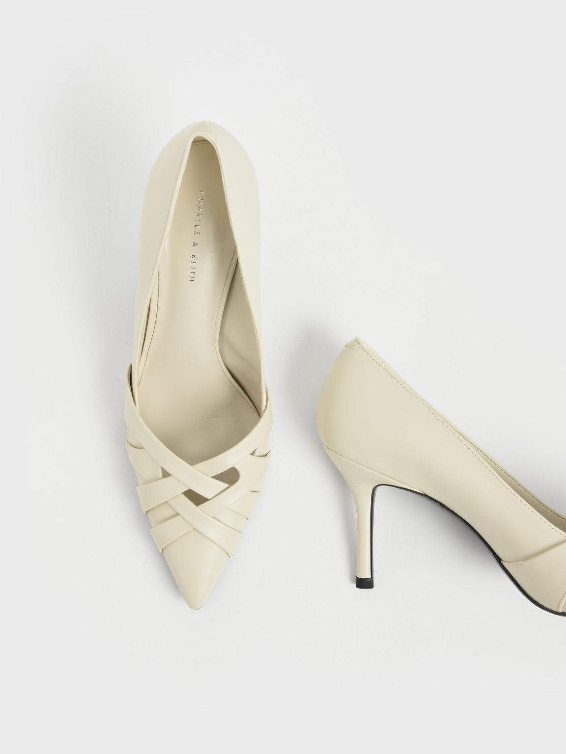 Sepatu Woven Patent Stiletto Pumps, Chalk, hi-res