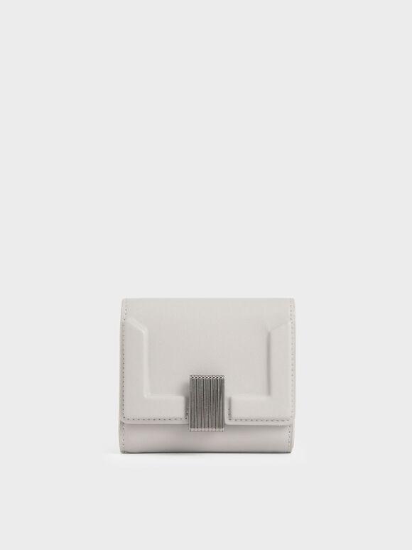 Dompet Kecil Metallic Turn-Lock, Light Grey, hi-res