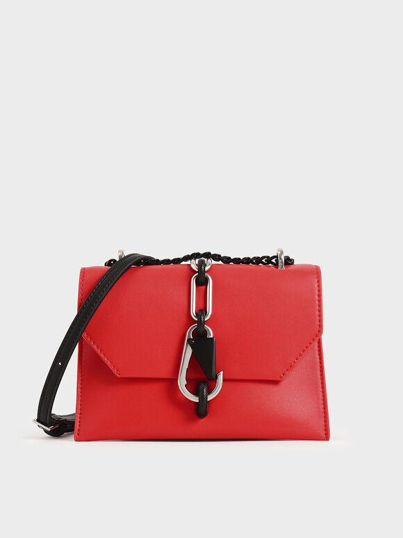 Metallic Accent Crossbody Bag, Crimson, hi-res