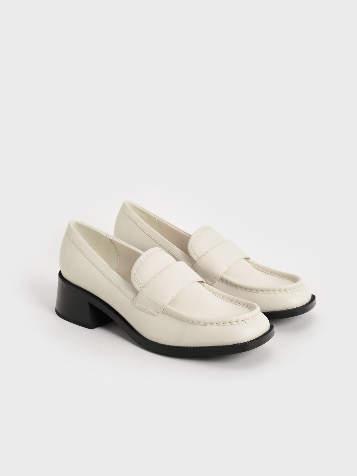 Sepatu Block Heel Penny Loafers, Chalk, hi-res