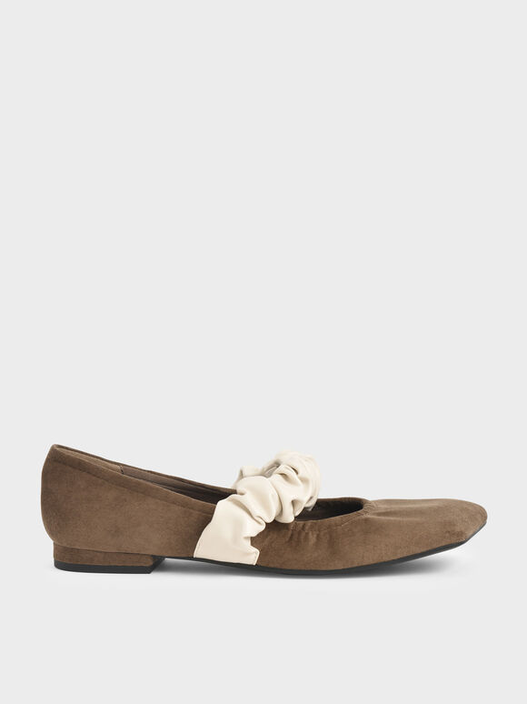 Ruffle Strap Mary Janes, Olive, hi-res