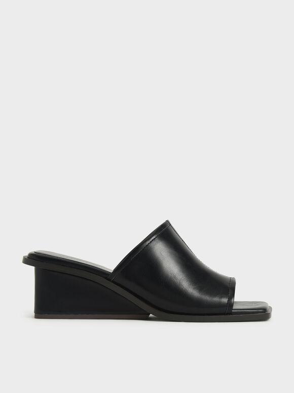 Sandal Square Toe Wedge Mules, Black, hi-res