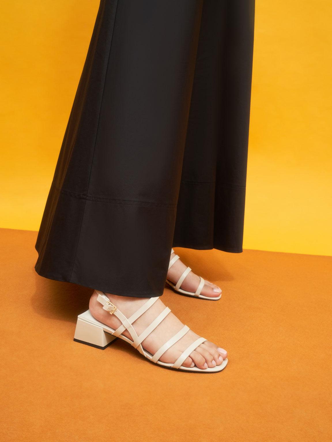 Strappy Geometric Slingback Sandals, Chalk, hi-res