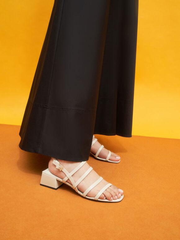 Sandal Strappy Geometric Slingback, Chalk, hi-res