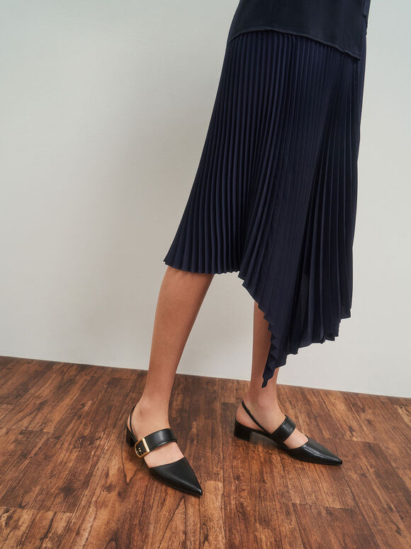 Sepatu Buckle Slingback Pumps, Black, hi-res