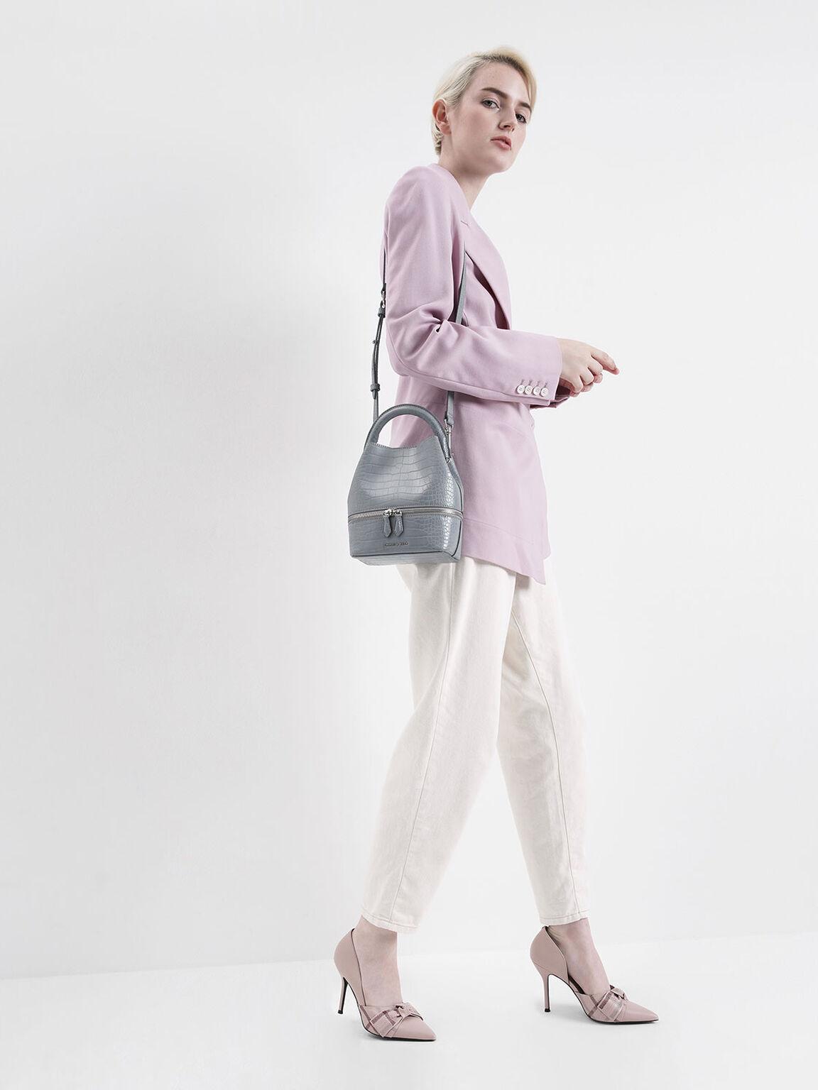Croc-Effect Two-Way Zip Bucket Bag, Grey, hi-res