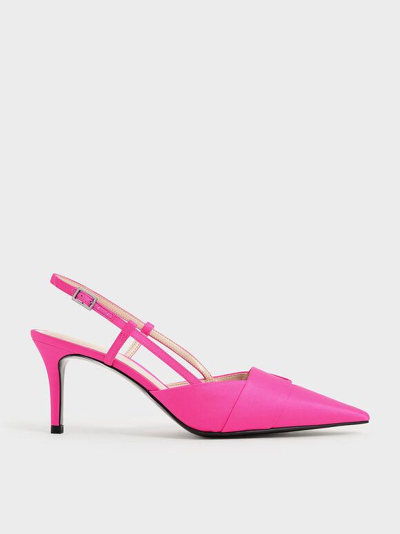 Sepatu Satin Slingback Pumps, Fuchsia, hi-res