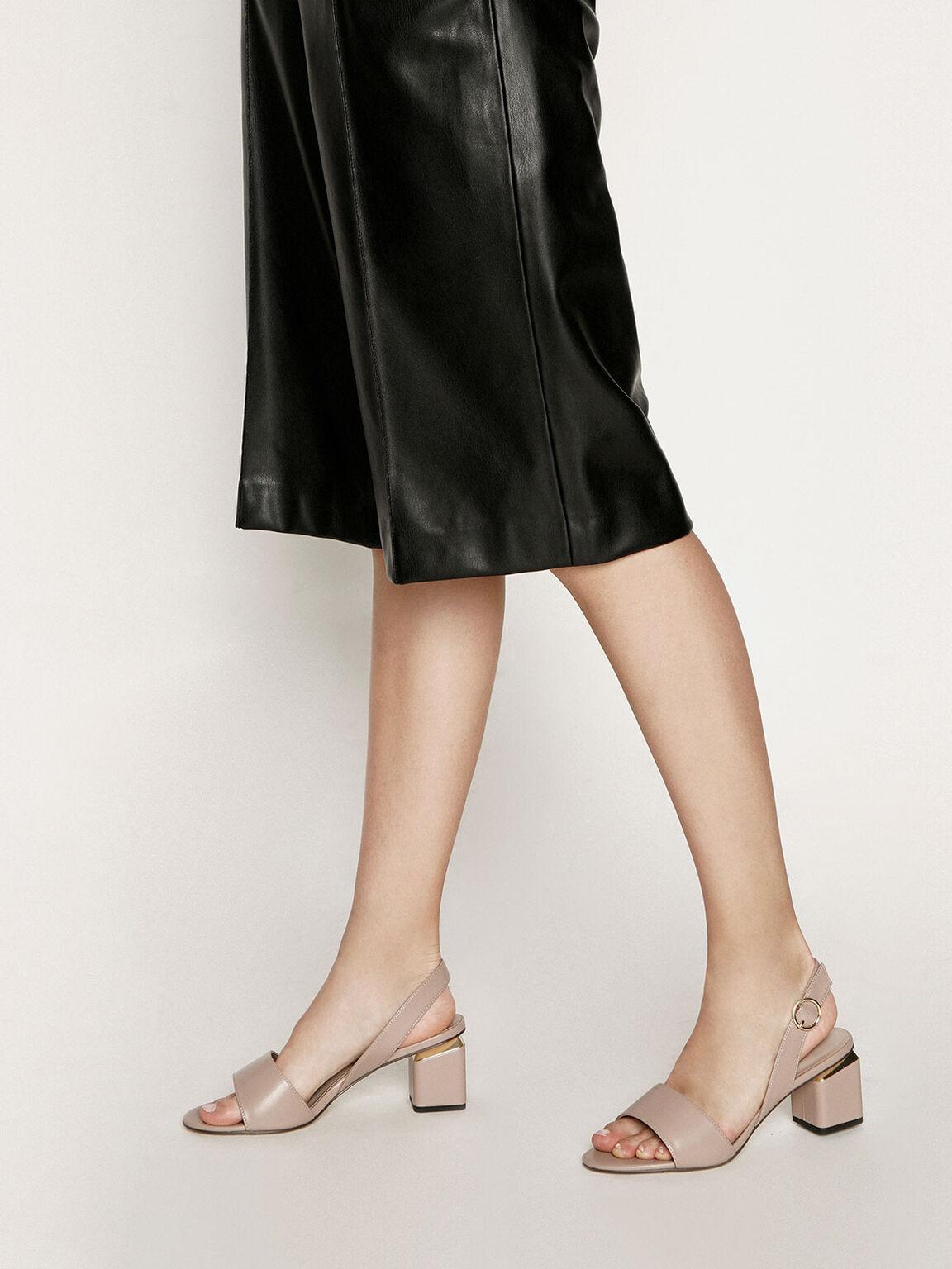 Slingback Block Heels, Taupe, hi-res