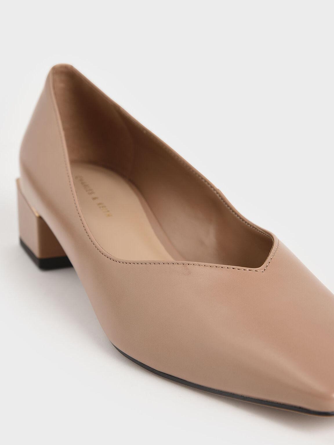 Sepatu Block Heel Pumps, Nude, hi-res