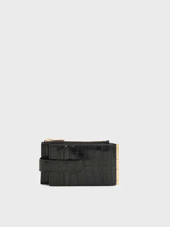 Croc-Effect Thin Front Flap Card Holder, Black, hi-res