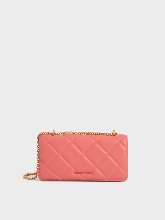 Dompet Panjang Chain Handle Quilted, Coral, hi-res