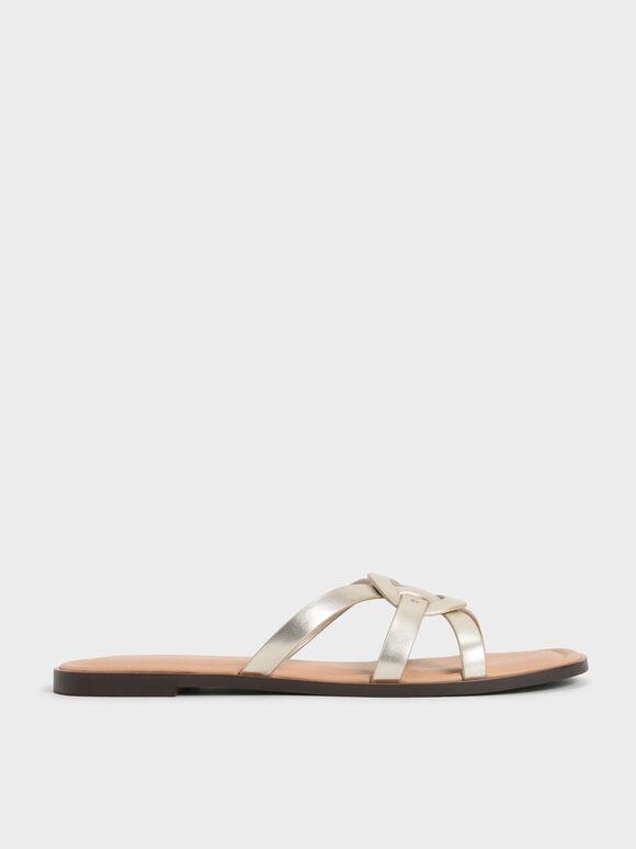 Sepatu Flats Ring Detail Metallic Strappy, Gold, hi-res
